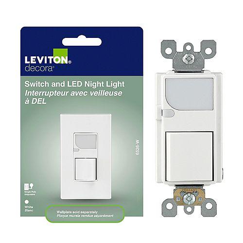 Leviton Decora Single Pole Switch w/LED Guide Light, White