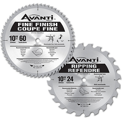 Avanti 10-inch 60-Tooth and 24-Tooth Blade Set (2-Piece)