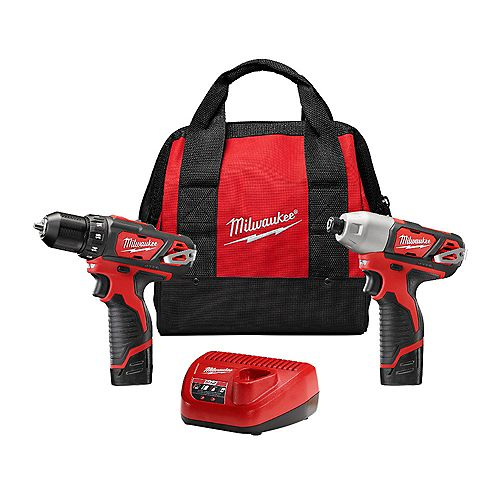 M12 12V Lithium-Ion Cordless Drill Driver/Impact Driver Combo Kit (2-Tool) with (2) 1.5Ah Batteries, Charger, Tool Bag