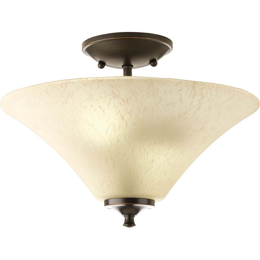 Progress Lighting Fluorescente de Semi-plafonnier à 2 Lumières - fini Bronze à l'Ancienne