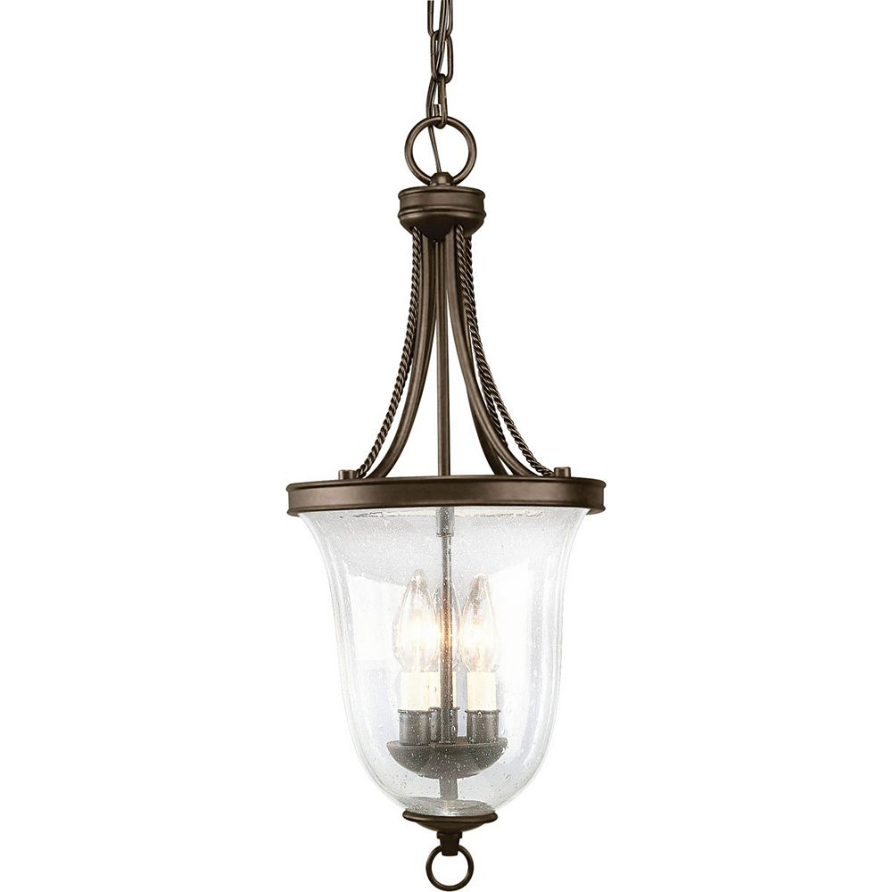 Progress Lighting Seeded Glass Collection 3-Light Antique Bronze Foyer Pendant Light Fixture