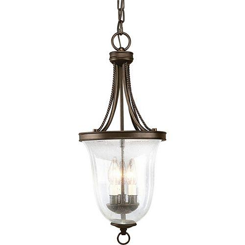 Lustre de vestibule à 3 Lumières, Collection Seeded Glass - fini Bronze à l'Ancienne