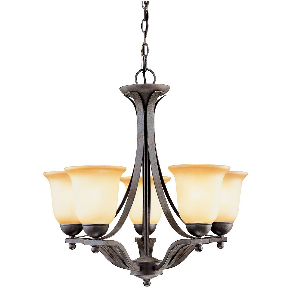 Hampton Bay Lustre en fer d'aspect rustique à5lampes avec diffuseurs en verre ivoire antique