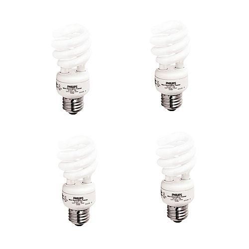 13W Soft White Mini Twister Light Bulb (4-Pack)