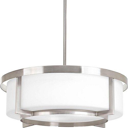 Fluorescente de Semi-plafonnier à 4 Lumières, Collection Dynamo - fini Nickel Brossé