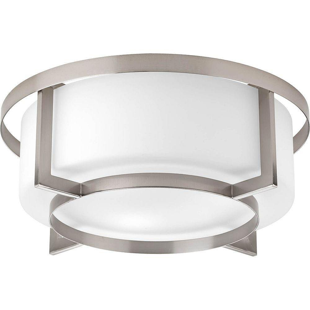 Progress Lighting Fluorescente de Plafonnier à 4 Lumières, Collection Dynamo - fini Nickel Brossé