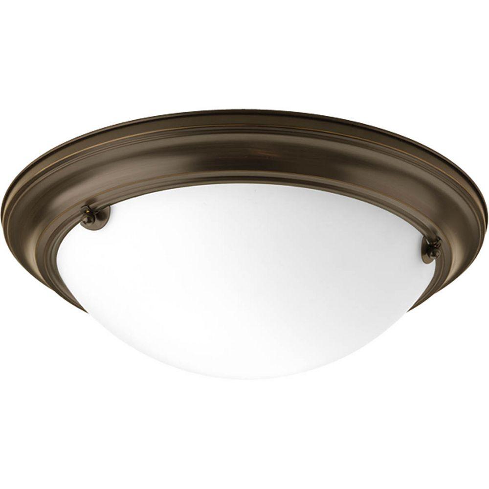 Progress Lighting Fluorescente de Plafonnier à 2 Lumières, Collection Eclipse - fini Bronze à l'Ancienne