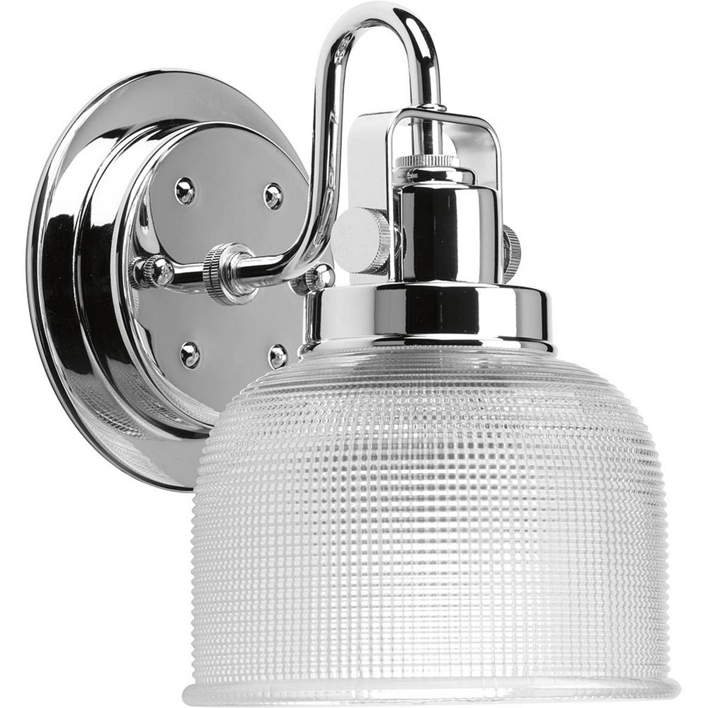 Progress Lighting Archie Collection 1-Light Chrome Vanity Light with Prismatic Glass Shades