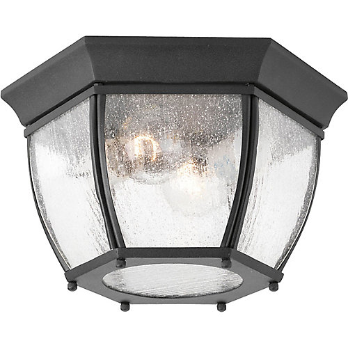 Roman Coach Collection 2 Light Black Outdoor Flushmount
