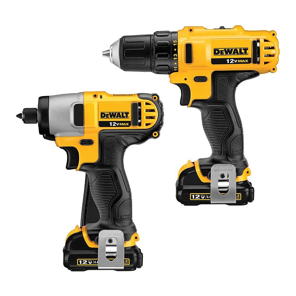 DEWALT 12V MAX Li-Ion Cordless Drill/Driver and Impact Combo Kit (2-Tool) w/ (2) Batteries 1.5Ah, Charger and Bag