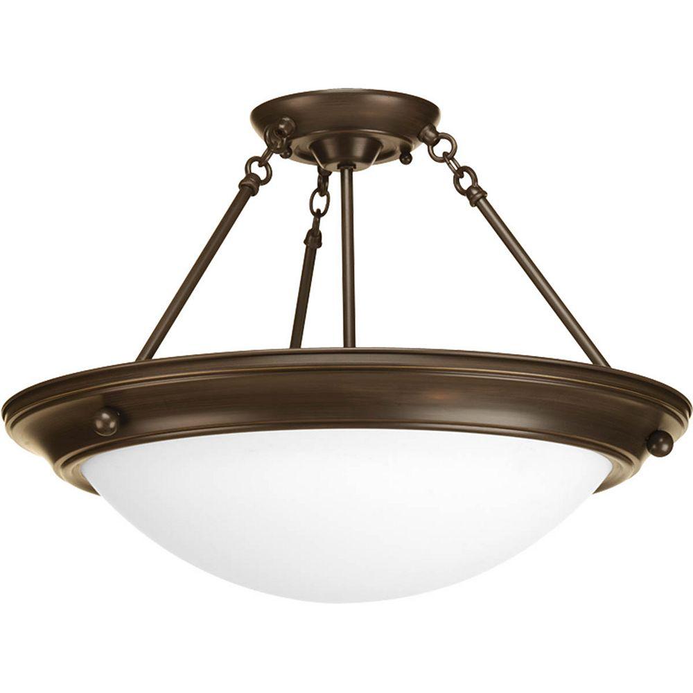 Progress Lighting Fluorescente de Semi-plafonnier à 3 Lumières, Collection Eclipse - fini Bronze à l'Ancienne