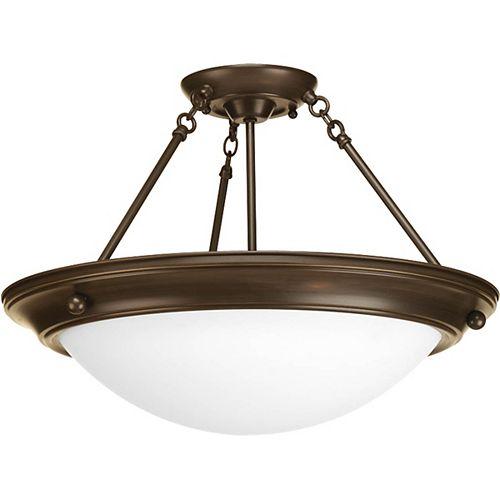 Fluorescente de Semi-plafonnier à 3 Lumières, Collection Eclipse - fini Bronze à l'Ancienne