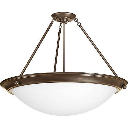 Fluorescente de Semi-plafonnier à 4 Lumières, Collection Eclipse - fini Bronze à l'Ancienne