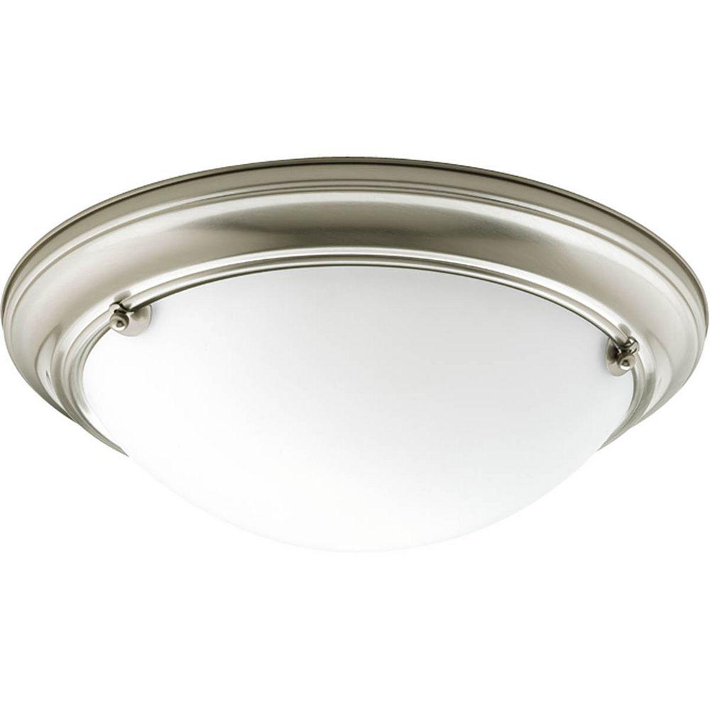 Progress Lighting Eclipse Collection 2 Light Brushed Nickel Flushmount