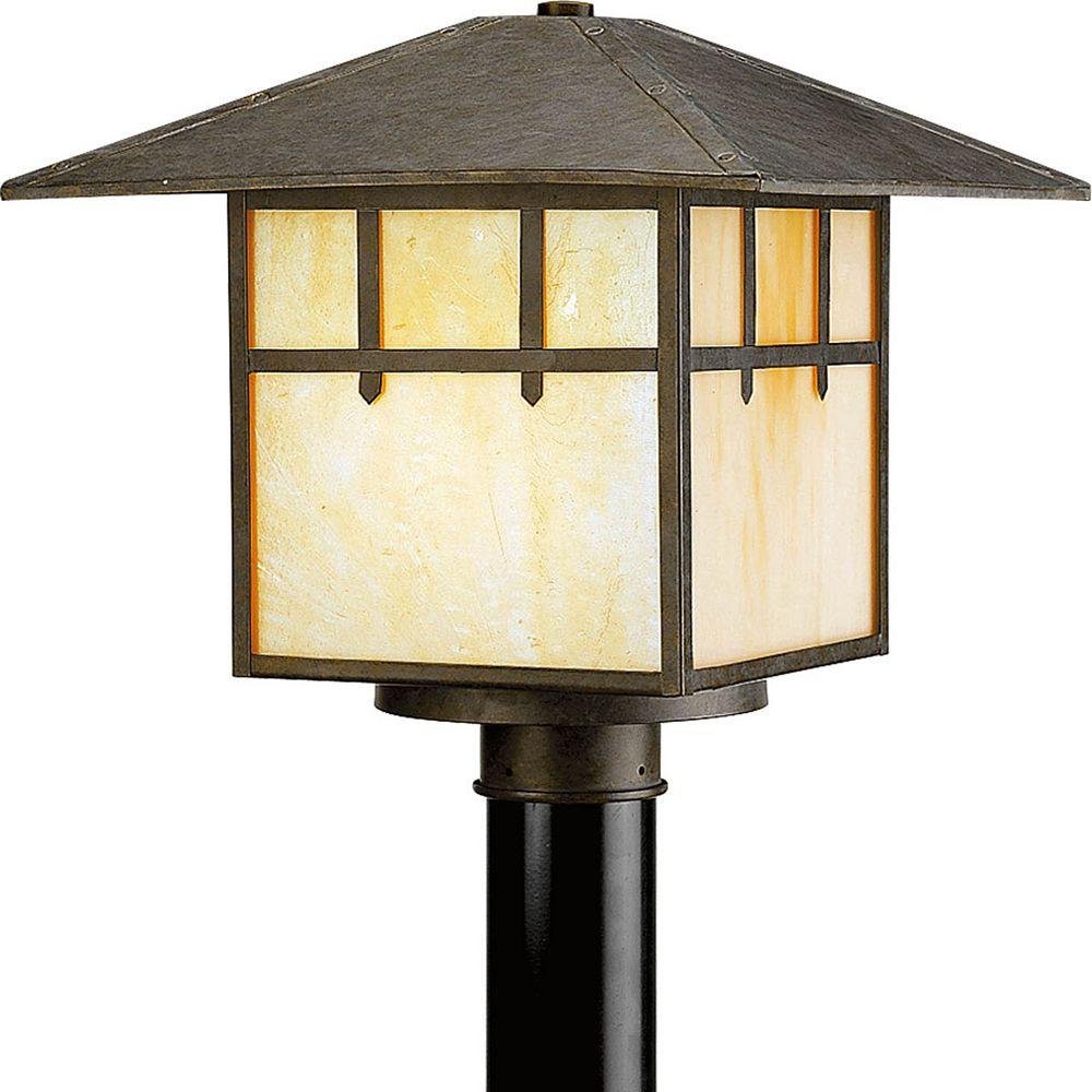 Progress Lighting Mission Collection 1 Light Weathered Bronze Post Lantern