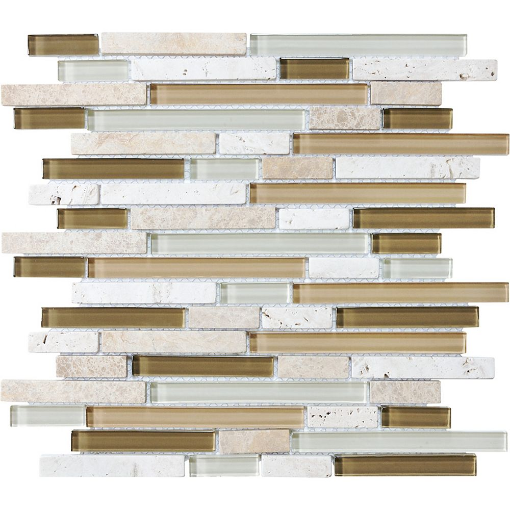 Enigma Glass Stone Linear Blend Mosaic Tile in Bamboo