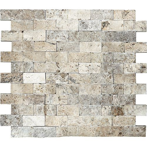 1-Inch x 2-Inch Split Face Picasso Travertine Mosaic Tile