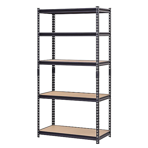 36-inch W 5-Tier Heavy Duty Steel Shelving Unit in Black