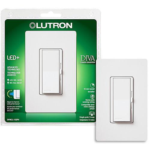 Gradateur Diva LED+ pour ampoules à DEL/halo/incand, unipolaire/3 voies, blanc