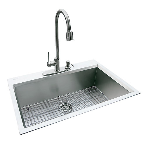Dual Mount 31.5-inch x 20.5-inch x 10-inch Deep Welded Single Bowl Kitchen Sink in Stainless Steel