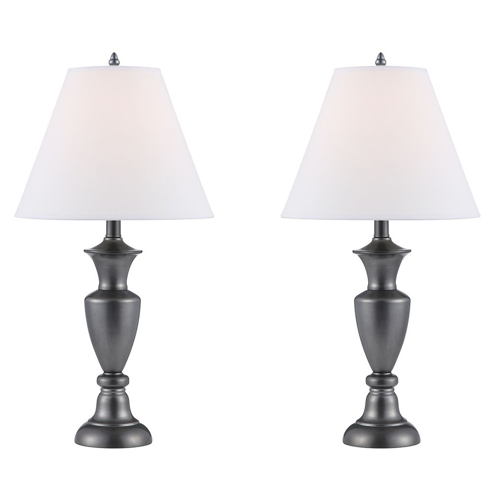 Hampton Bay Set of Two Table Lamps, Antique Pewter - 24.75 Inch