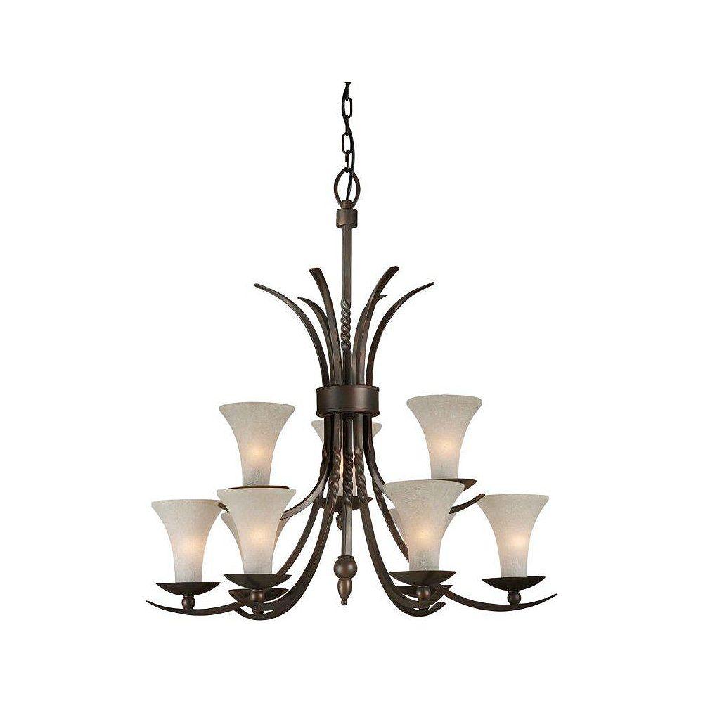 Filament Design Burton 9 Light Ceiling Antique Bronze  Incandescent Chandelier