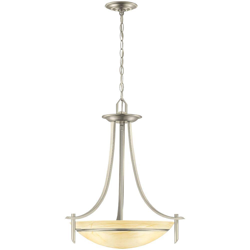 Hampton Bay Luminaire suspendu, nickel brossé, 3ampoules, 100W, diffuseur en verre façon albâtre