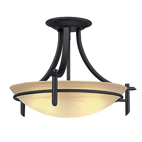 Semi-plafonnier bronze patiné, 3ampoules, 20po, diffuseur en verre façon albâtre