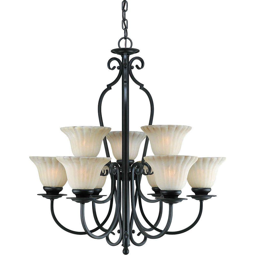 Filament Design Burton 9-Light Ceiling Bordeaux Chandelier