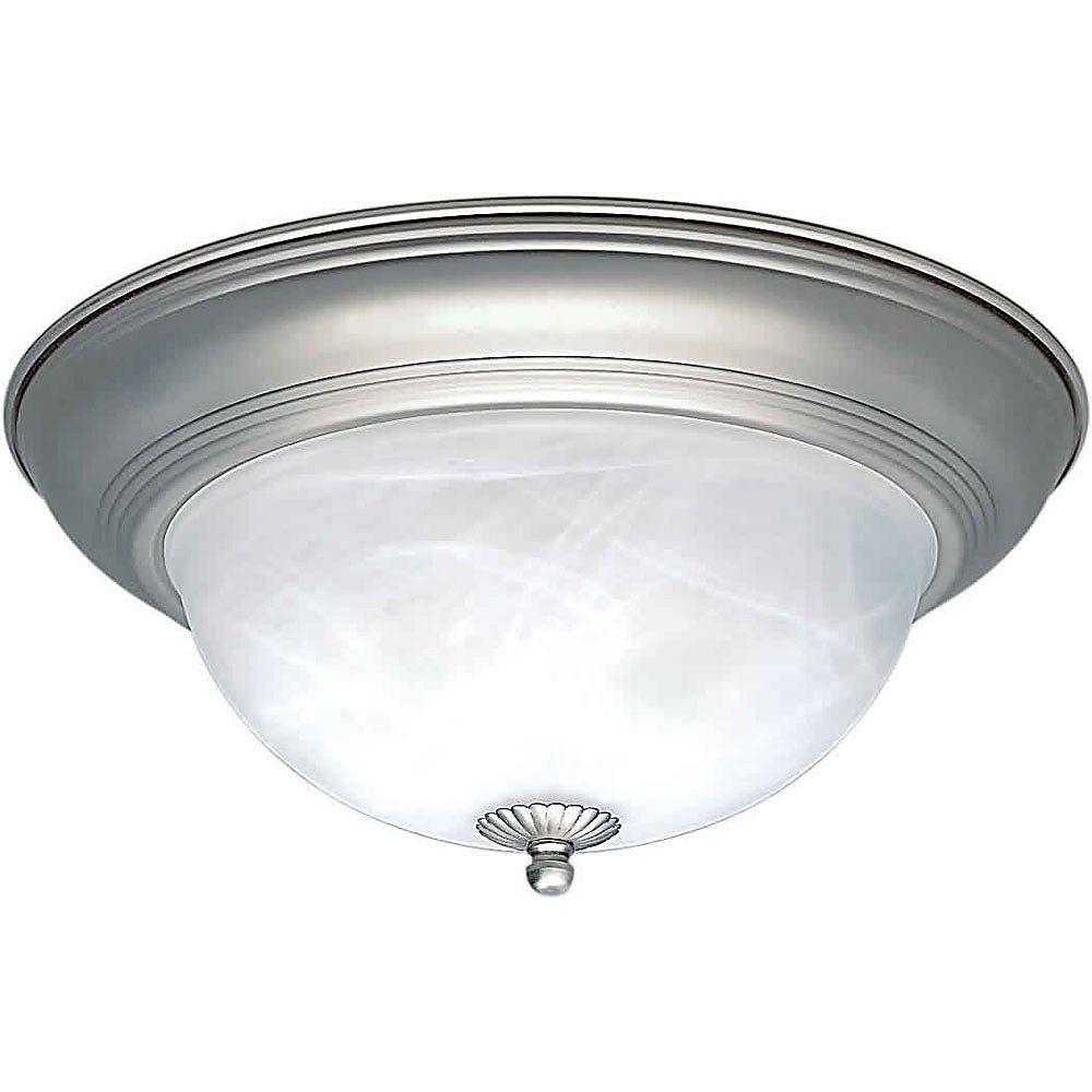 Filament Design Burton 2 Light Ceiling Brushed Nickel  Incandescent Flush Mount