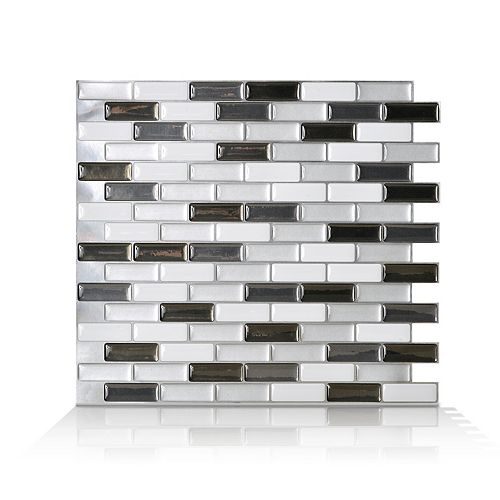 Murano Metallik Grey 10.20-inch W x 9.10-inch H Peel and Stick Decorative Wall Tile