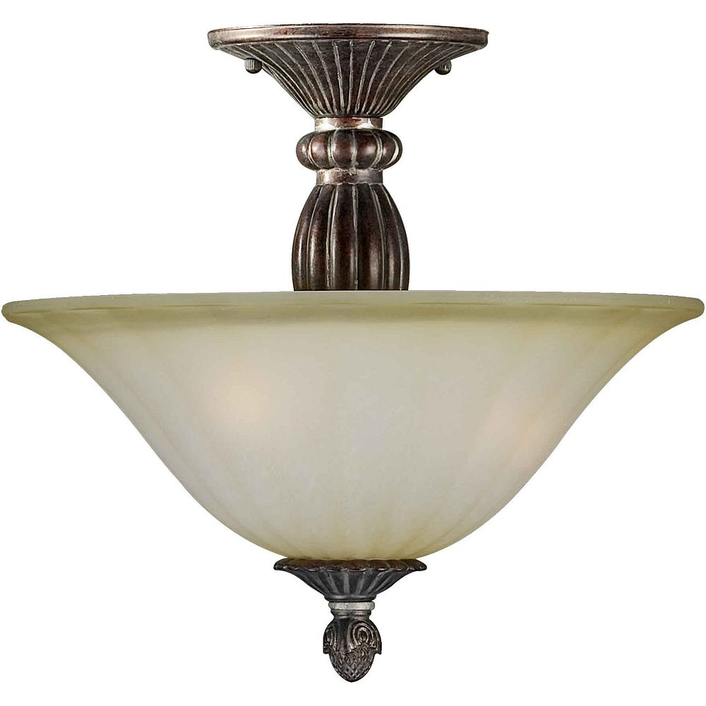 Filament Design Burton 2 Light Ceiling Black Cherry  Incandescent Semi Flush Mount