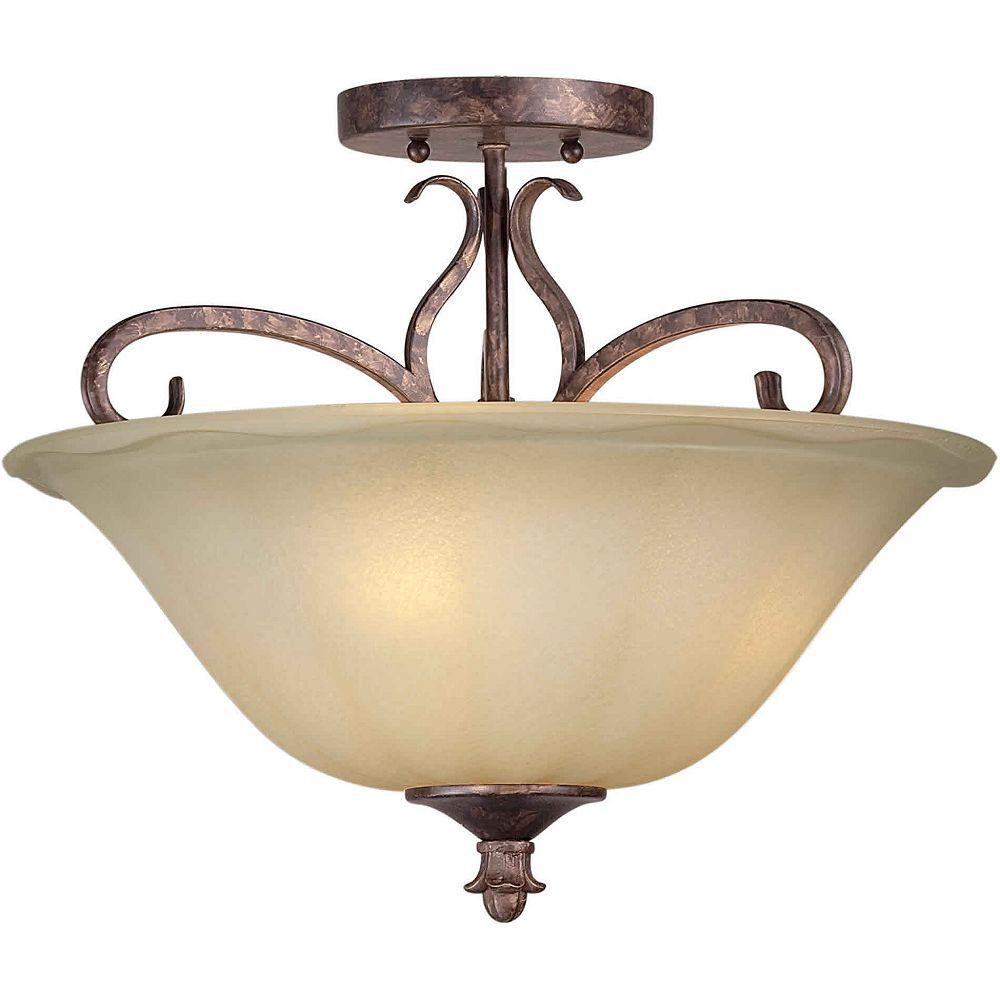 Filament Design Burton 3 Light Ceiling Rustic Spice  Incandescent Semi Flush Mount
