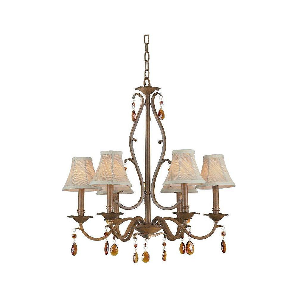Filament Design Burton 6 Light Ceiling Rustic Sienna  Incandescent Chandelier