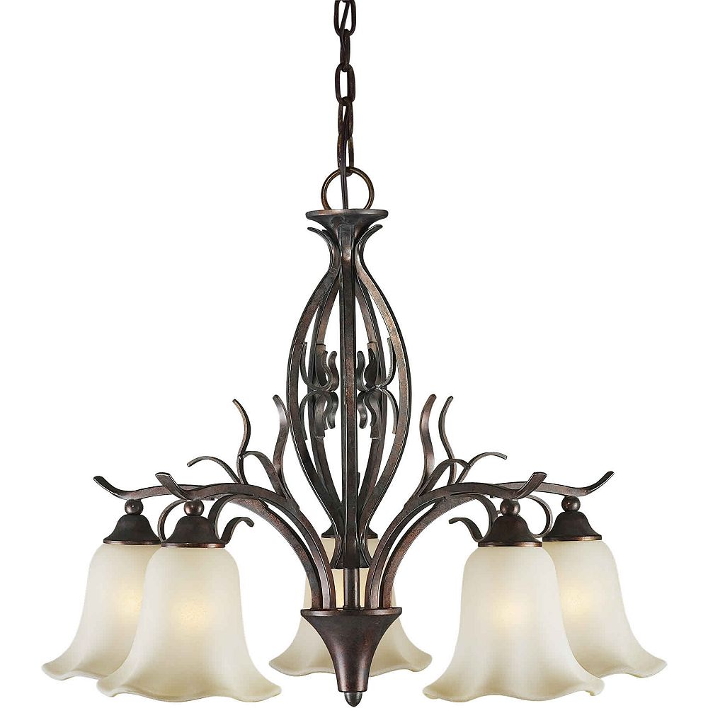 Filament Design Burton 5 Light Ceiling Black Cherry  Incandescent Chandelier