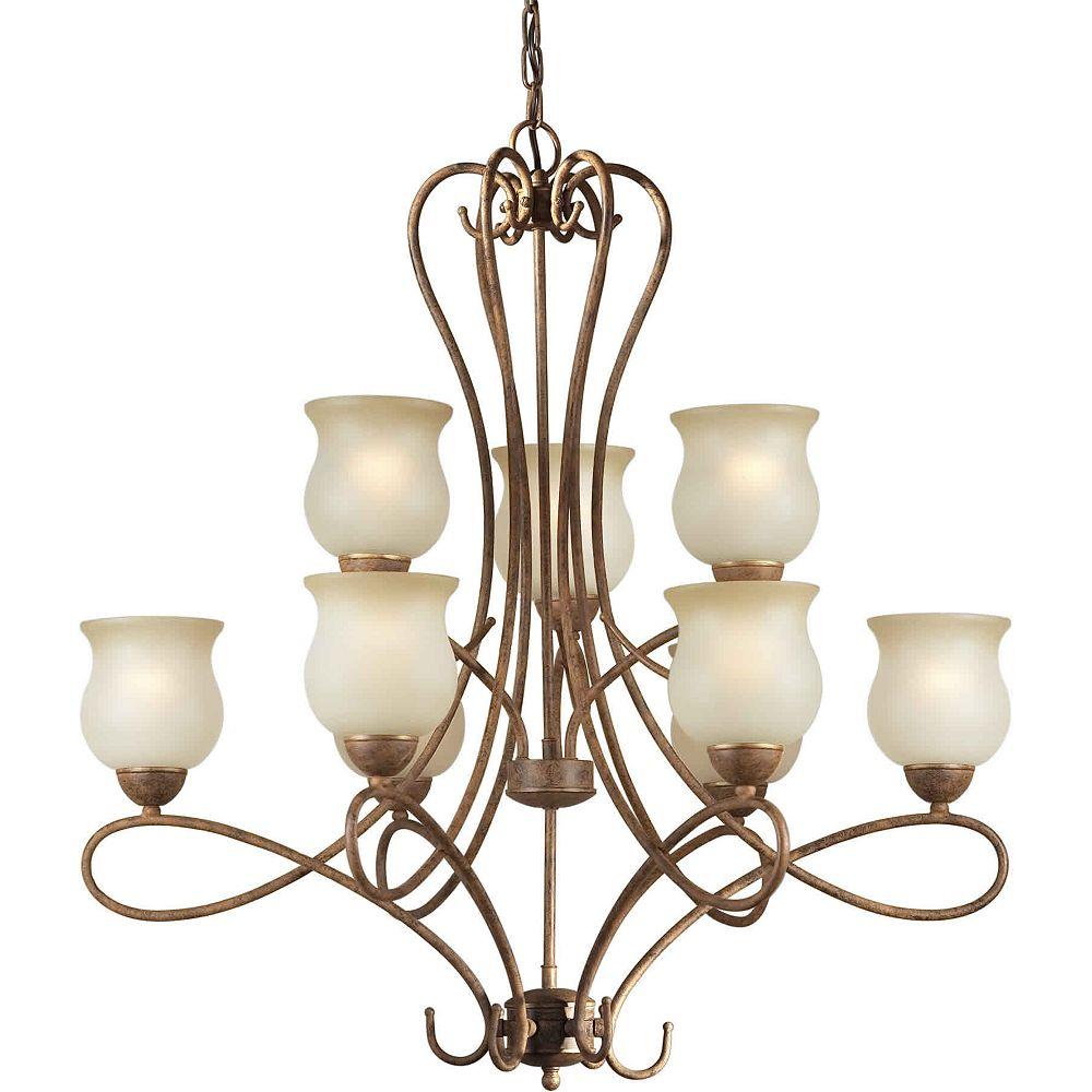 Filament Design Burton 9-Light Ceiling Chestnut Chandelier