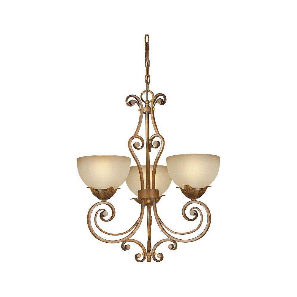 Filament Design Burton 3 Light Ceiling Rustic Sienna  Incandescent Chandelier