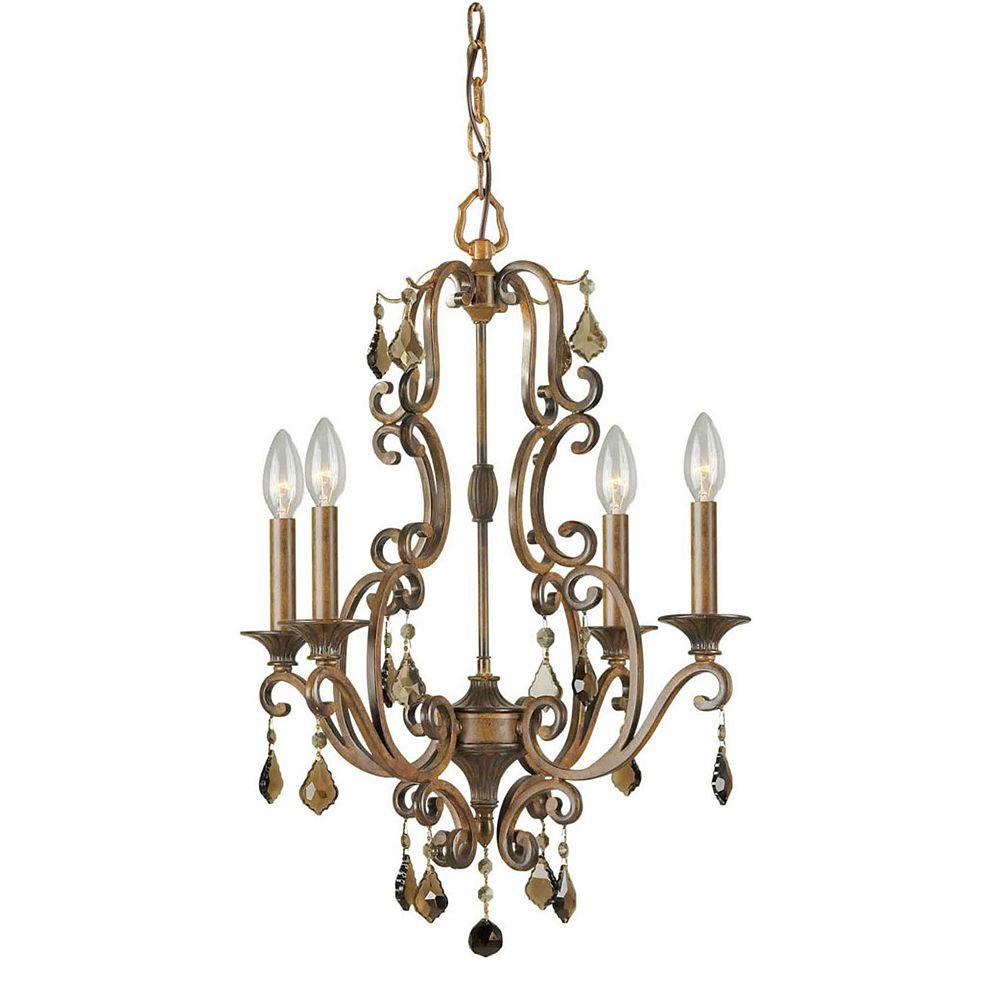 Filament Design Burton 4 Light Ceiling Rustic Sienna  Incandescent Chandelier