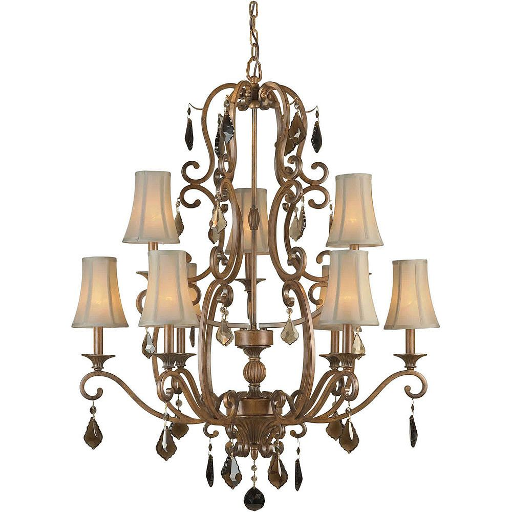 Filament Design Burton 9 Light Ceiling Rustic Sienna  Incandescent Chandelier