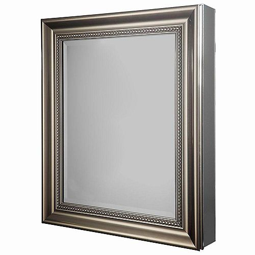 Glacier Bay 24-inch W x 30-inch H Framed Recessed or Surface-Mount Bathroom Medicine Cabinet in Brushed Nickel