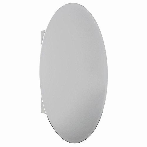 Armoire à pharmacie pour installation en surface ou encastrée, miroir ovale biseauté, 20po x 30po