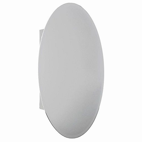 Armoire à pharmacie pour installation en surface ou encastrée, miroir ovale biseauté, 20 po x 30 po