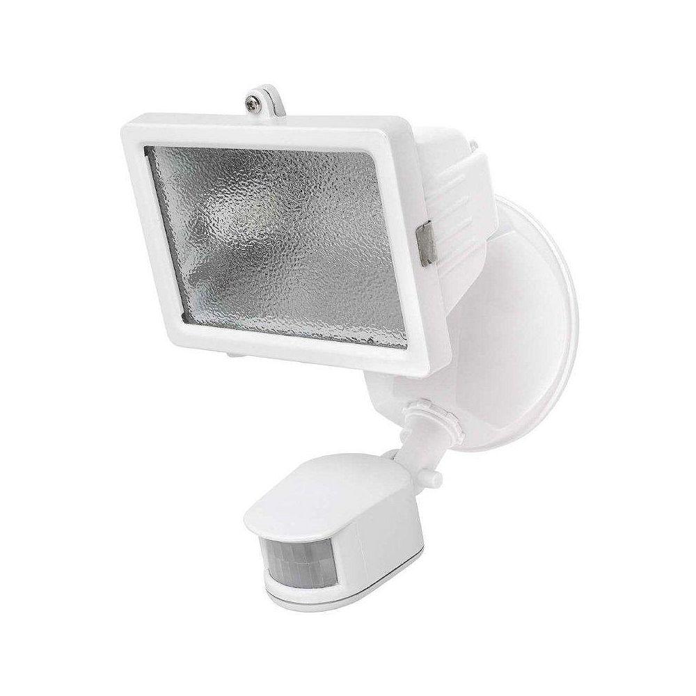 Globe Electric 150 Watt Halogen Flood, Motion Sensored Outdoor Security Light Fixture, White