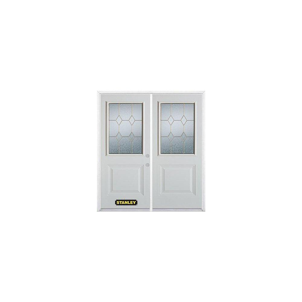 STANLEY Doors 71 inch x 82.375 inch Tulip Brass 1/2 Lite 1-Panel Prefinished White Left-Hand Inswing Steel Prehung Double Door with Astragal and Brickmould