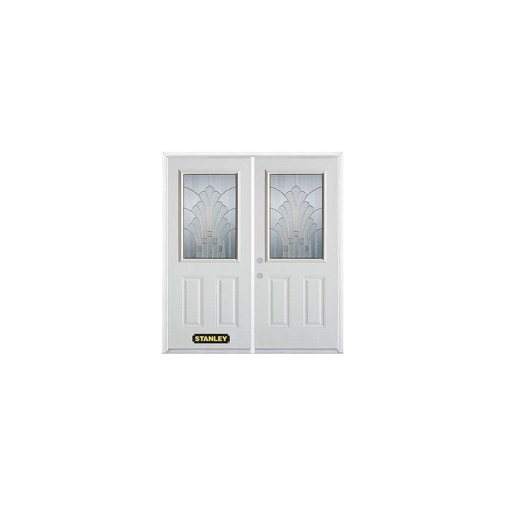 STANLEY Doors 71 inch x 82.375 inch Gladis Brass Half Lite 2-Panel Prefinished White Right-Hand Inswing Steel Prehung Double Door with Astragal and Brickmould