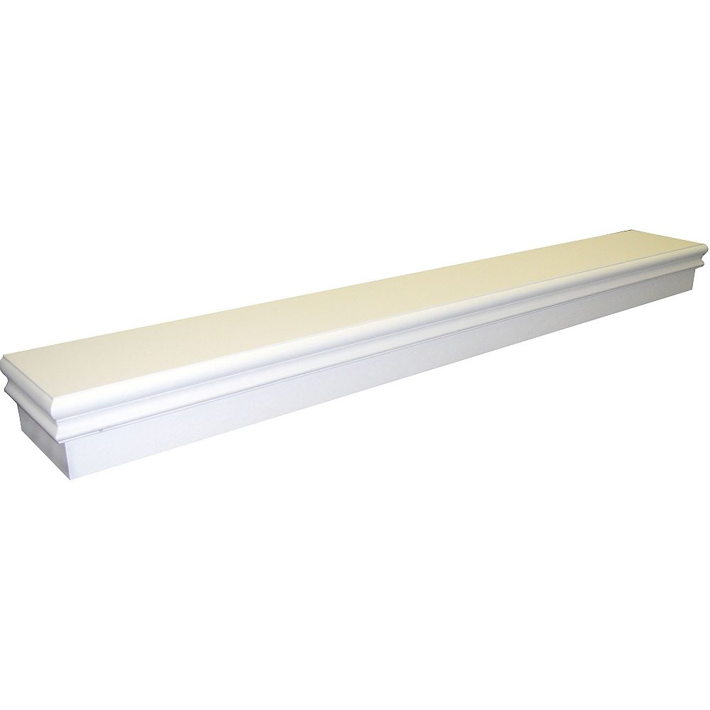 Elements Montego 60 Inch Transitional Mantel Shelf in Gloss White