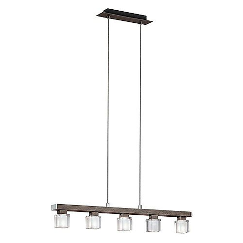 Eglo Tenno 5-Light Pendant Fixture with Genuine Lead Crystal in Antique Brown