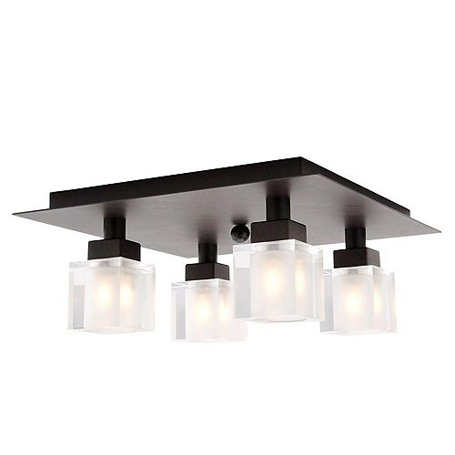 Tenno 4-Light Ceiling Fixture in Antique Brown with Genuine Lead Crystal