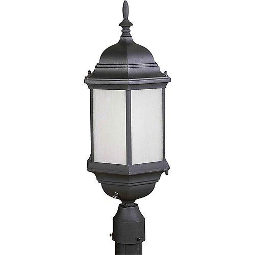 pilier monture lumière avec abat-jour givré couleur en noir