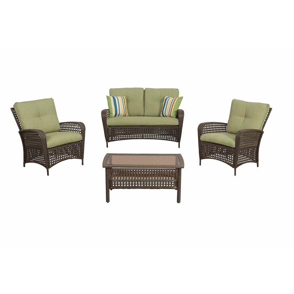 Hampton Bay Delaronde Brown 4-Piece All-Weather Wicker Patio Conversation Set with Green Cushions